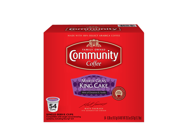 Mardi Gras King Cake Coffee Pods 54 Count