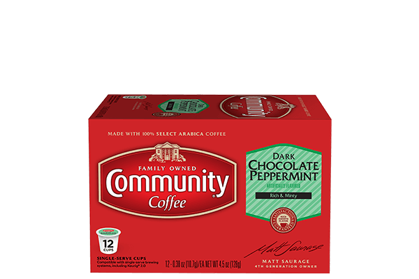 Dark Chocolate Peppermint Coffee Pods 12 Count