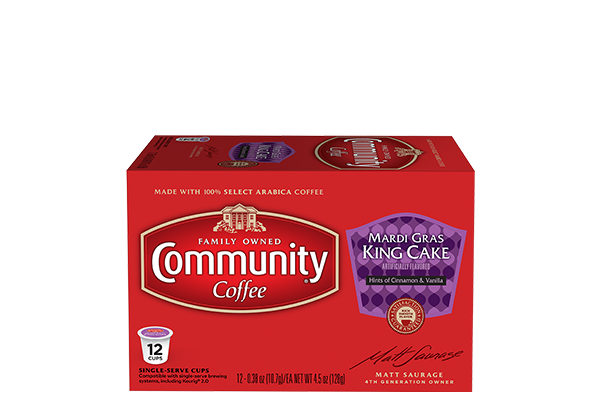 Mardi Gras King Cake Coffee Pods 12 Count
